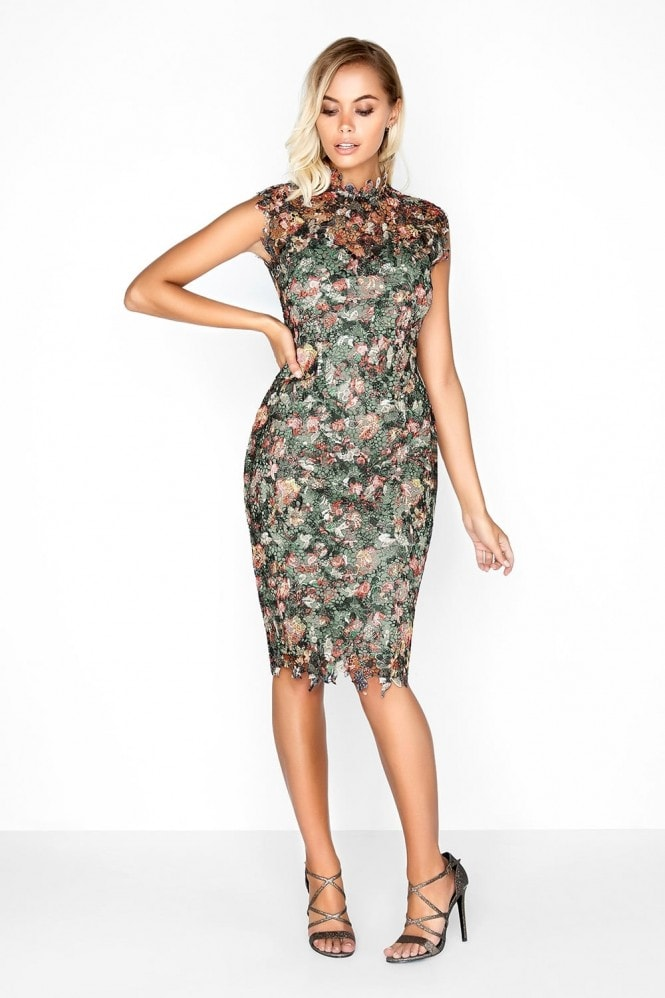 Outlet Paper Dolls Floral Print Crochet Dress