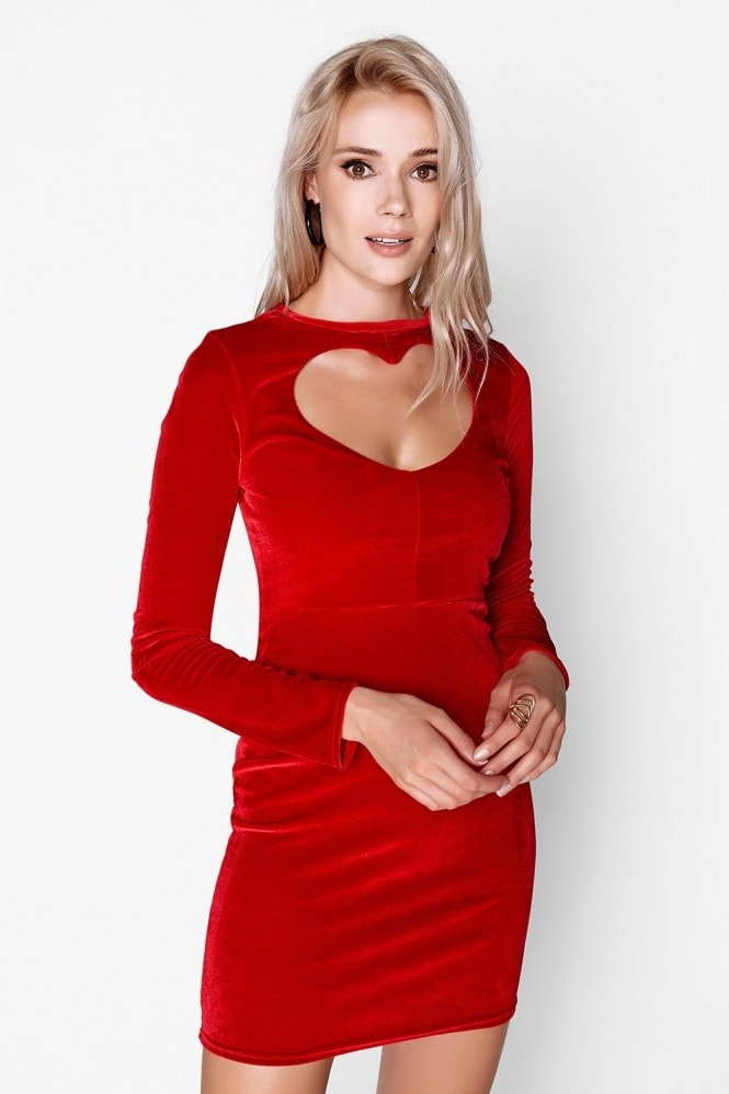 Outlet Girls On Film Red Heart Bodycon