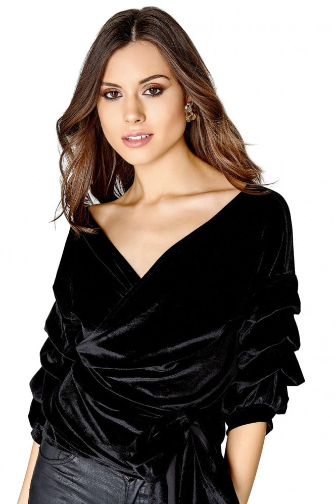 Girls on Film Velvet Wrap Top