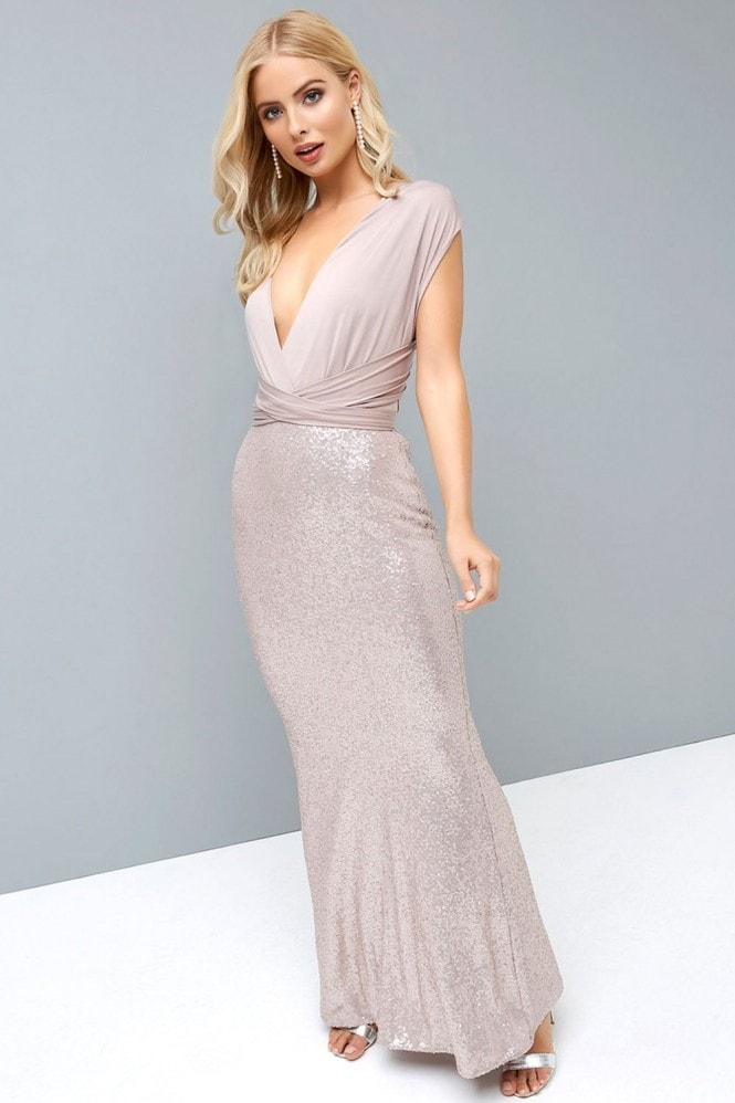 Little Mistress Mink Multiway Maxi Dress with Sequin Skirt