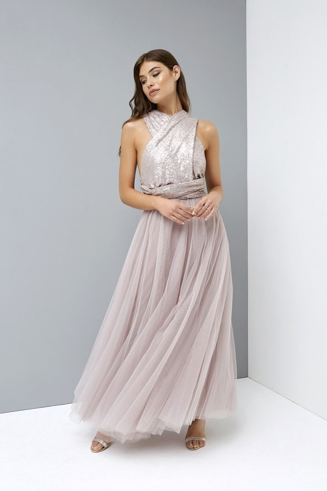 Little Mistress Mink Multiway Maxi Dress with Sequin Top