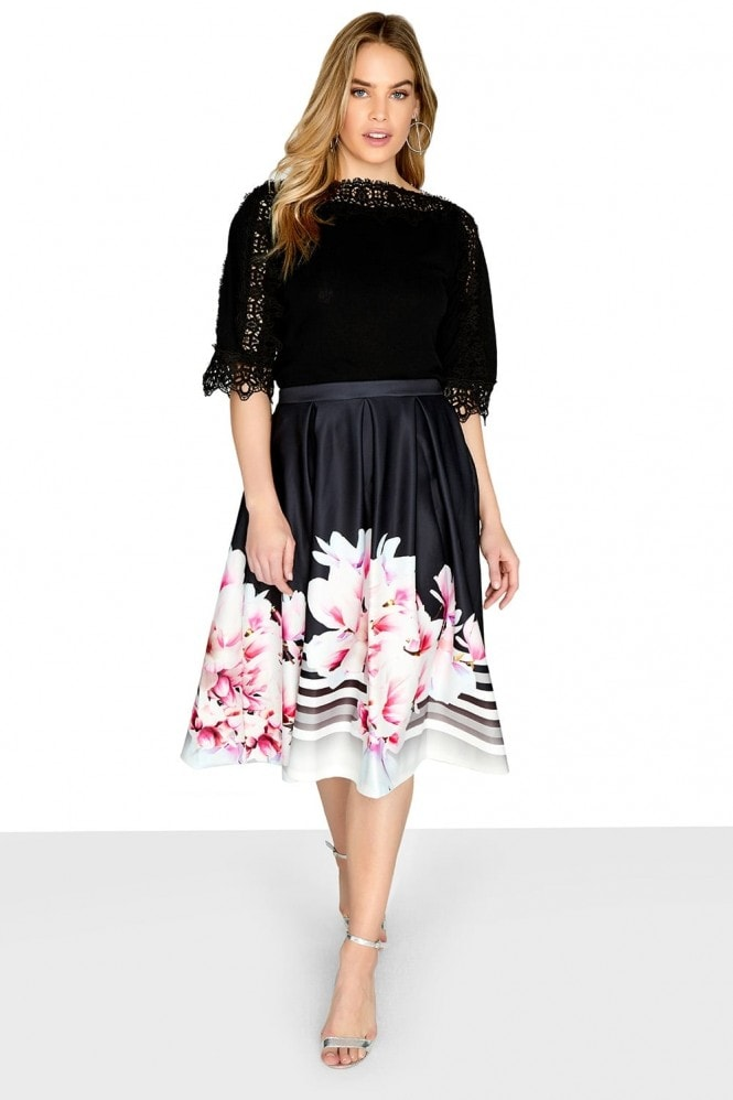 Outlet Girls On Film Print Midi Skirt
