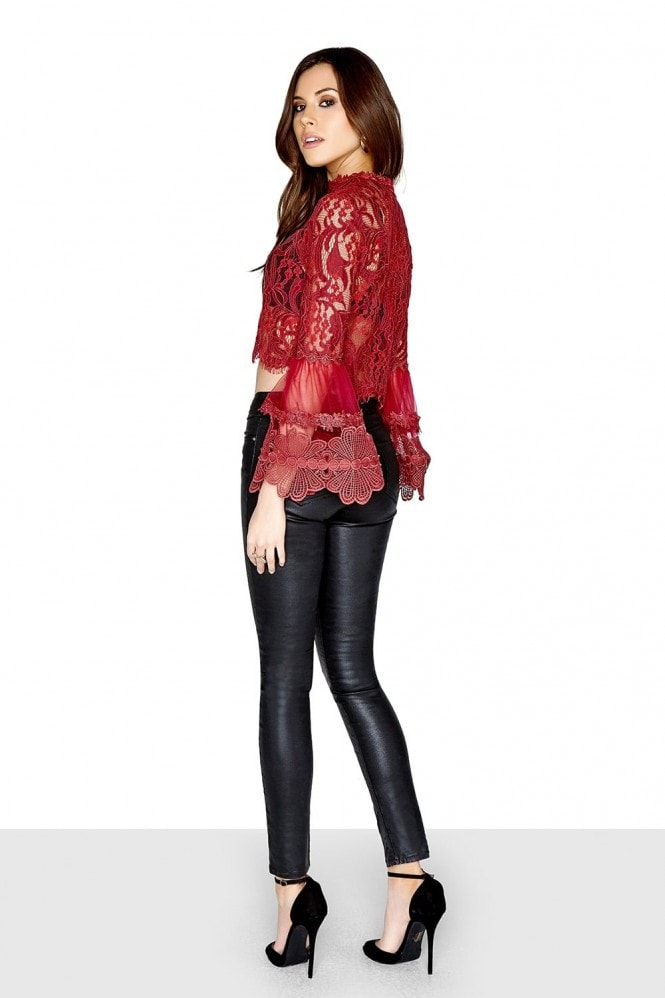Girls on Film Lace Sleeve Top