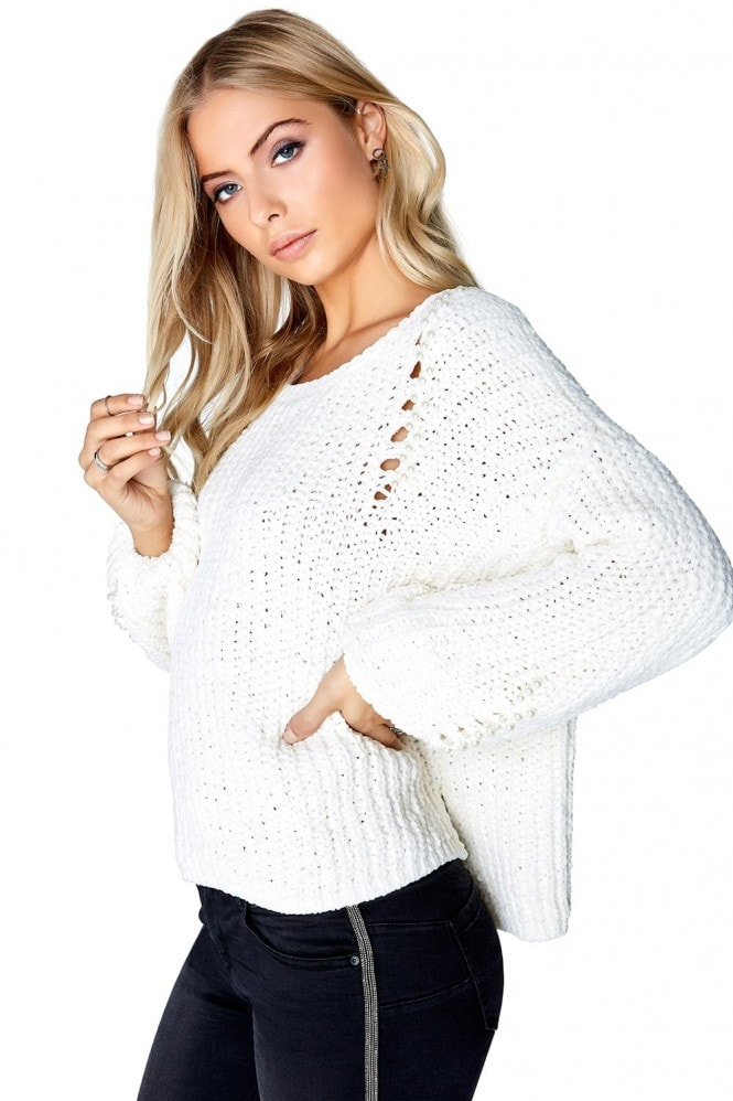 Outlet Girls On Film Cream Pearl Jumper
