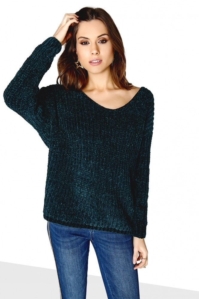 Outlet Girls On Film Emerald Green Knot Back Jumper