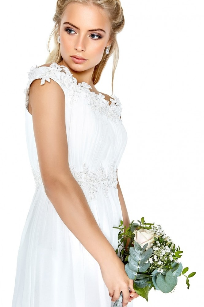 Little Mistress Bardot Lace Trim Bridal Dress