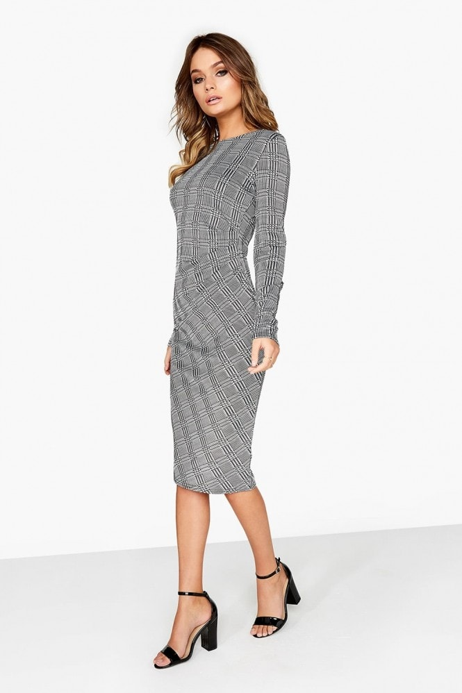 Girls on Film Grey Check Midi Dress