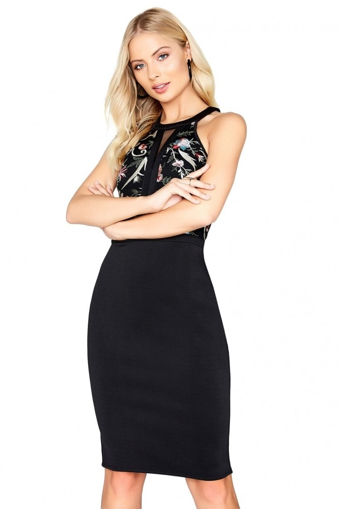 Little Mistress Embroidered Bodycon Dress
