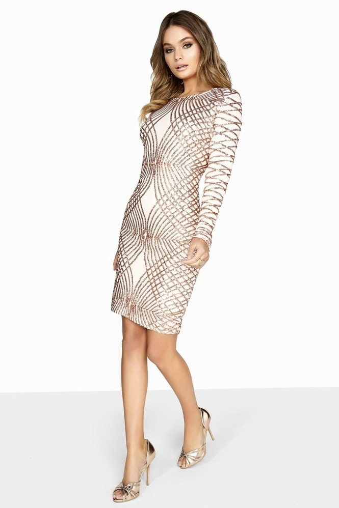 Outlet Girls On Film Champagne Sequin Dress