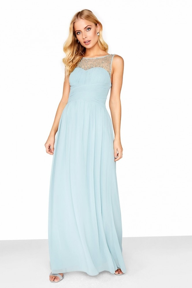 Grace Pewter Embellished Neck Maxi Dress