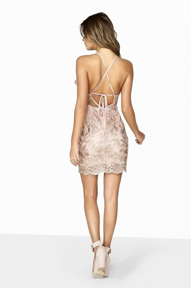 Girls on Film Pink Lace Bodycon