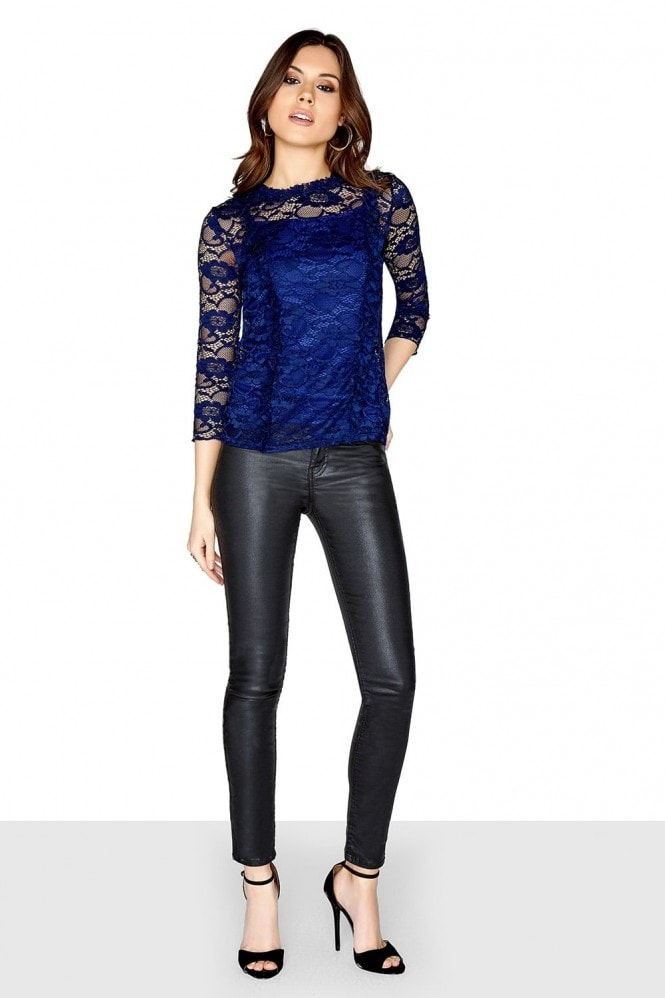 Outlet Girls On Film Navy Lace Top