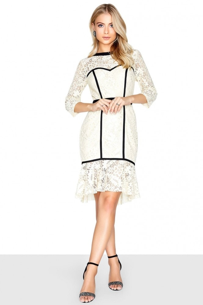 Outlet Paper Dolls Cream Peplum Dress