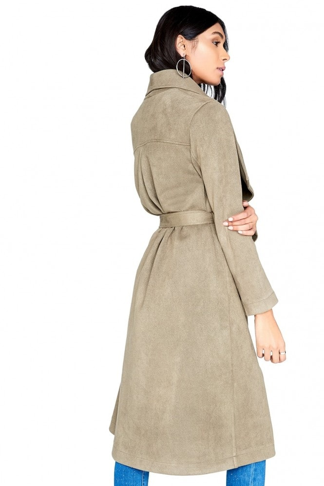 Girls on Film Khaki Suedette Coat