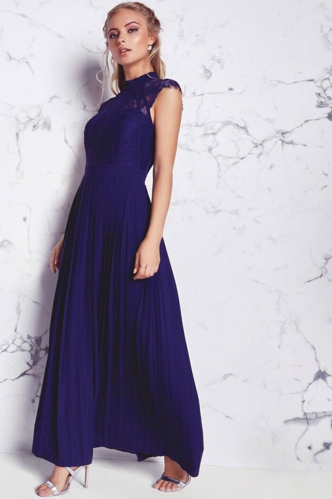 Little Mistress Navy Pleated Maxi Dress