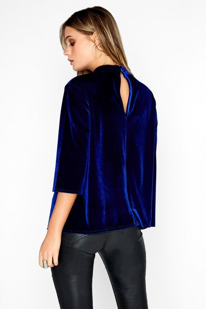 Girls on Film Cobalt Velvet Top