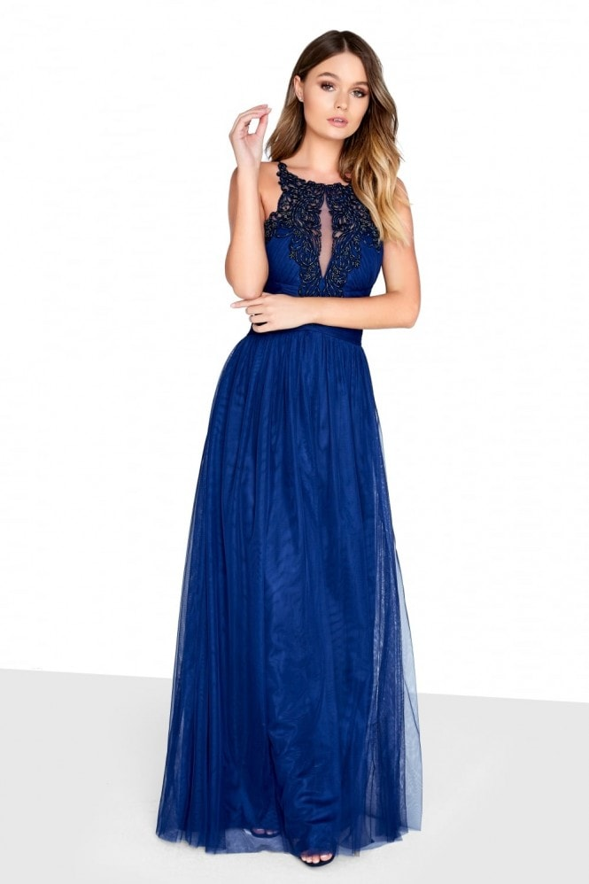 Little Mistress Navy Mesh Maxi Dress