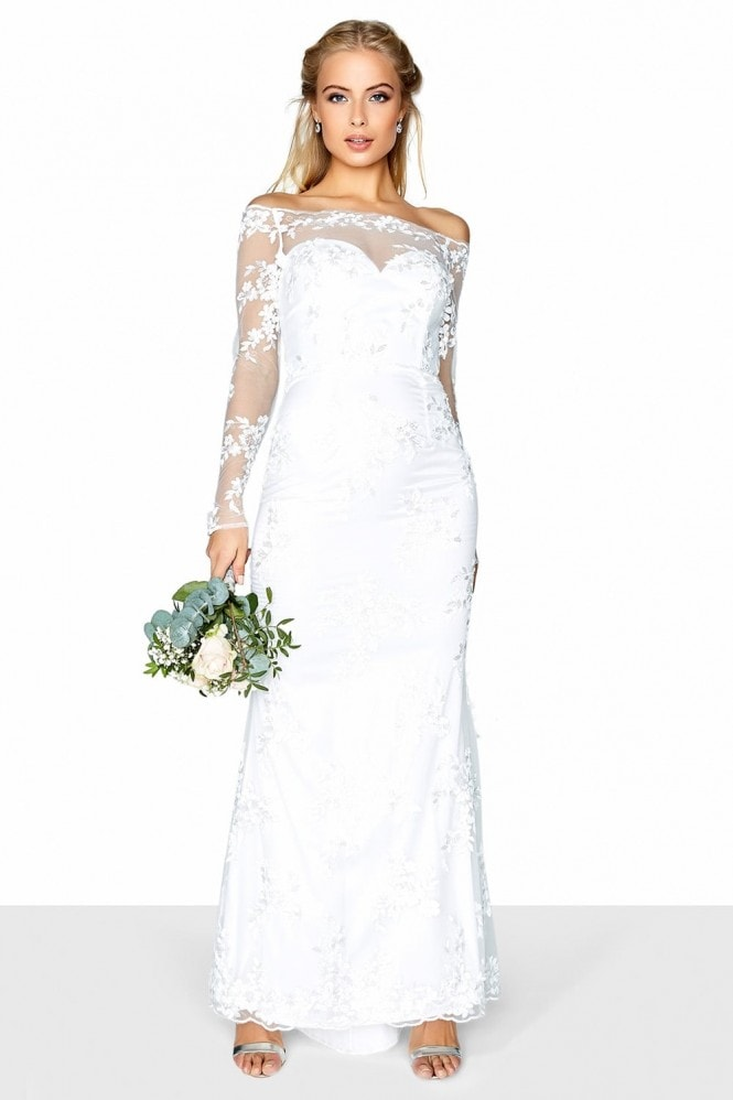 Little Mistress Lace Bardot Bridal Dress
