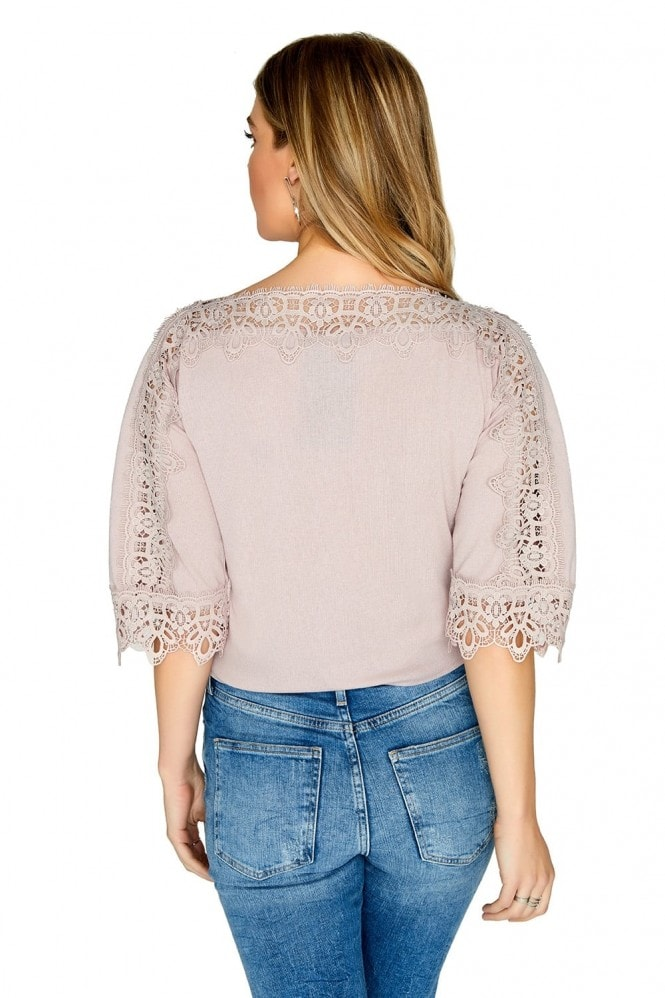 Outlet Girls On Film Crochet Trim Detail Knit