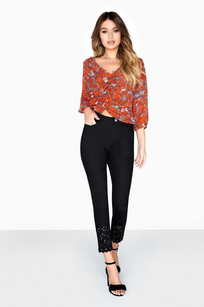 Girls on Film Red Floral Based Print Top