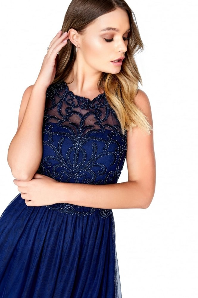 Little Mistress Navy Mesh Midi Dress