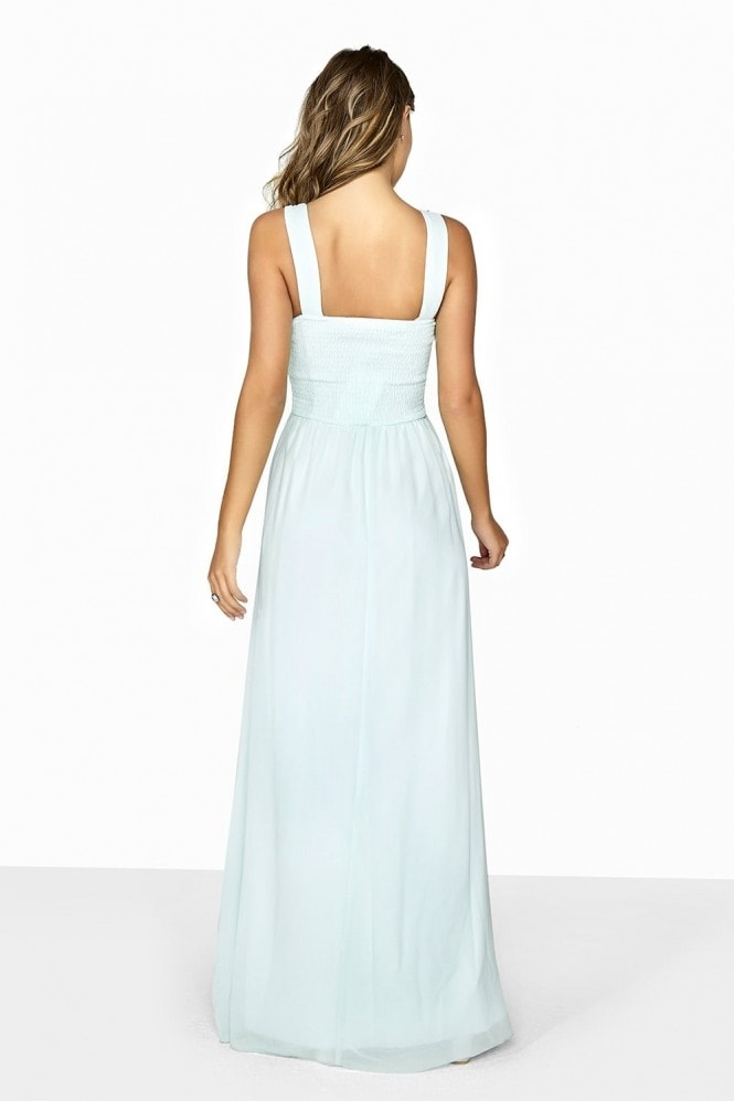 Little Mistress Grace Seafoam Embellished Neck Maxi Dress