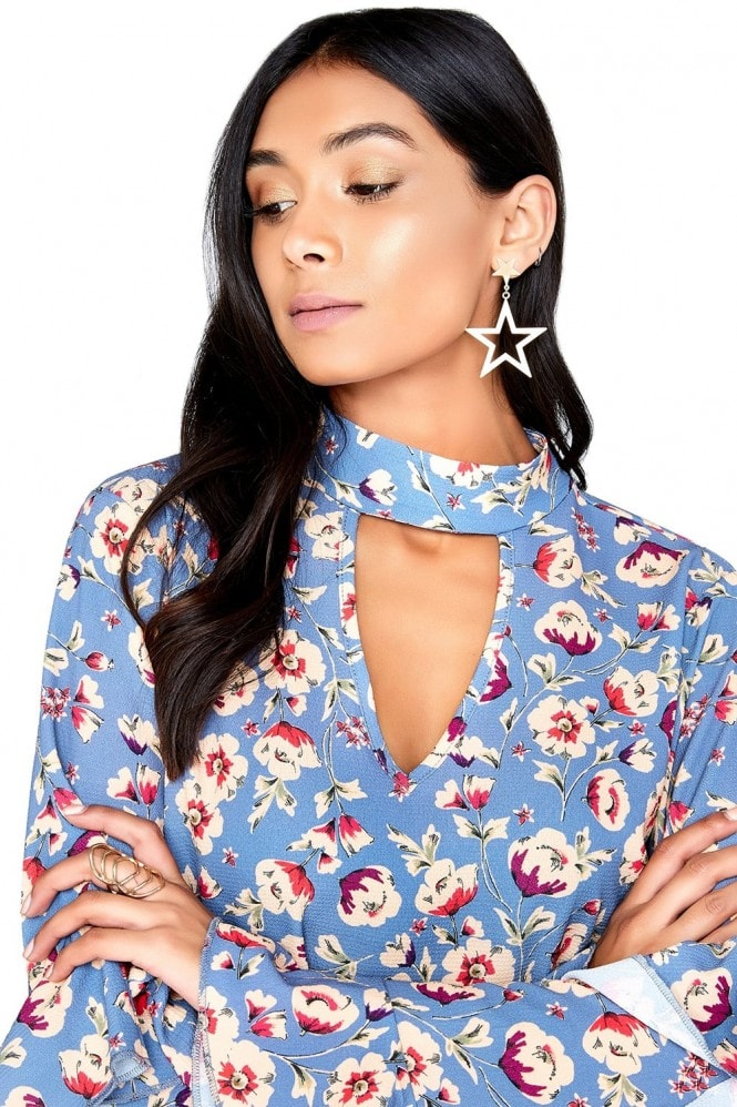 Girls on Film Printed Choker Blouse