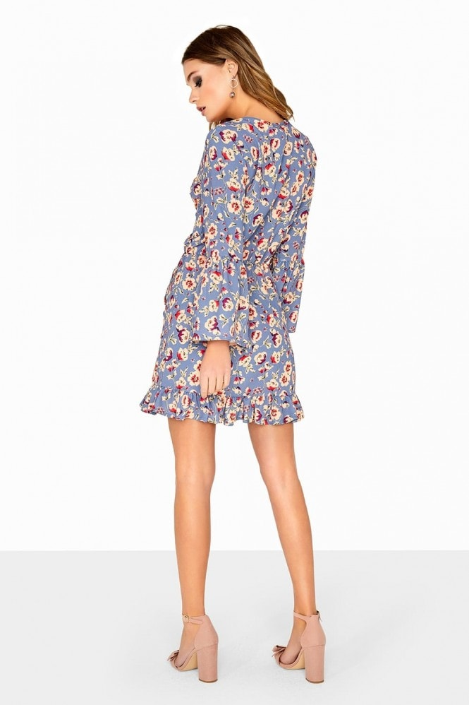 Girls on Film Printed Wrap With Frill Sleeve