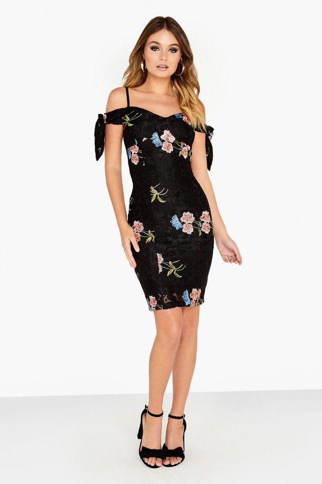 Girls on Film Strappy Embroidered Dress