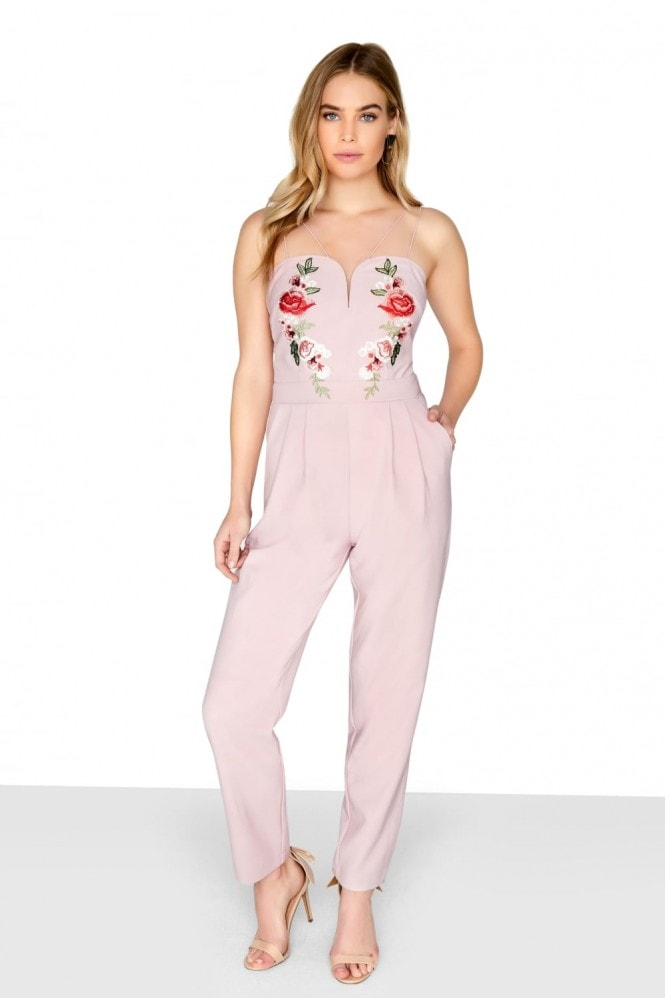 Outlet Girls On Film Pink Embroidered Jumpsuit
