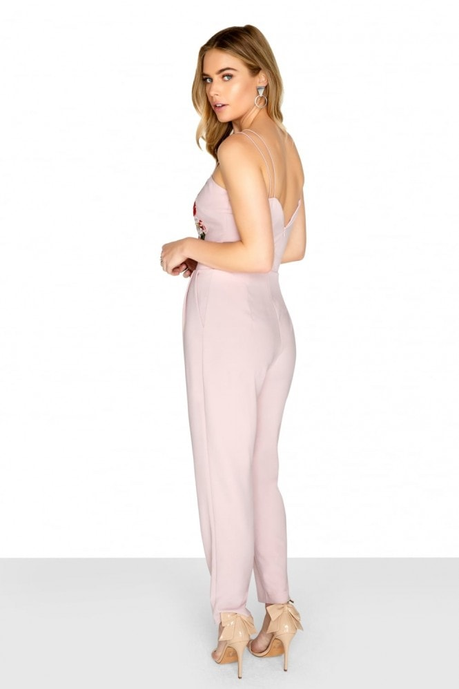 Girls on Film Pink Embroidered Jumpsuit