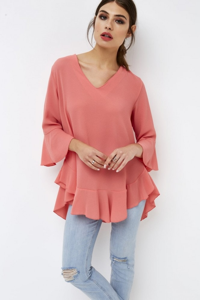 Girls on Film Coral Frill Top