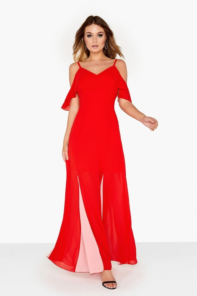 Girls on Film Pink And Red Maxi Dress