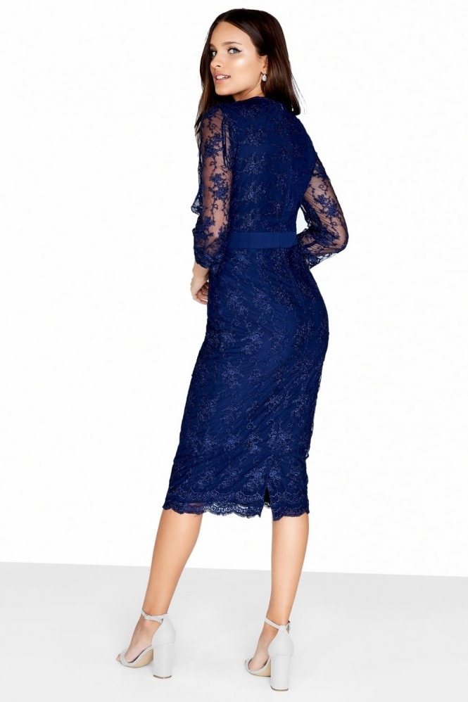 Little Mistress Navy Mesh Bodycon