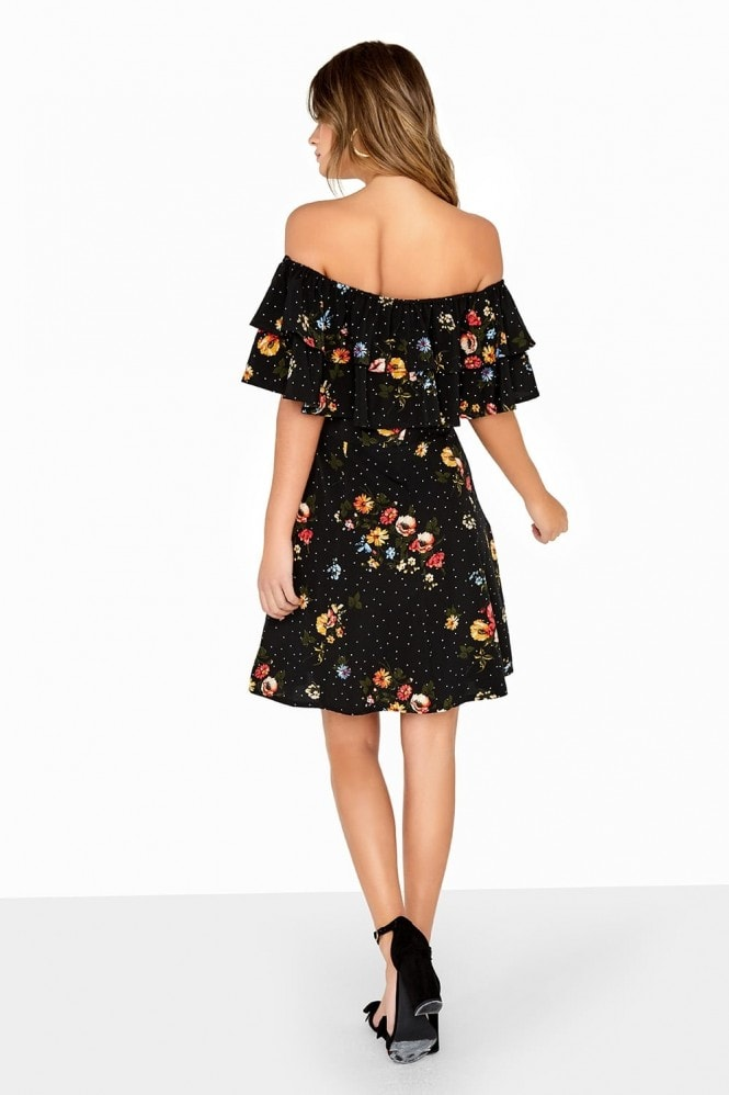 Girls on Film Multi Print Bardot Dress