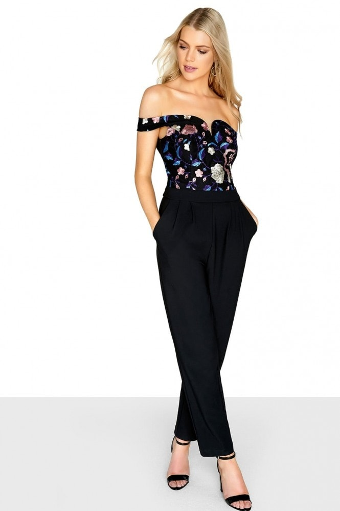 Girls on Film Embroidered Bardot Jumpsuit