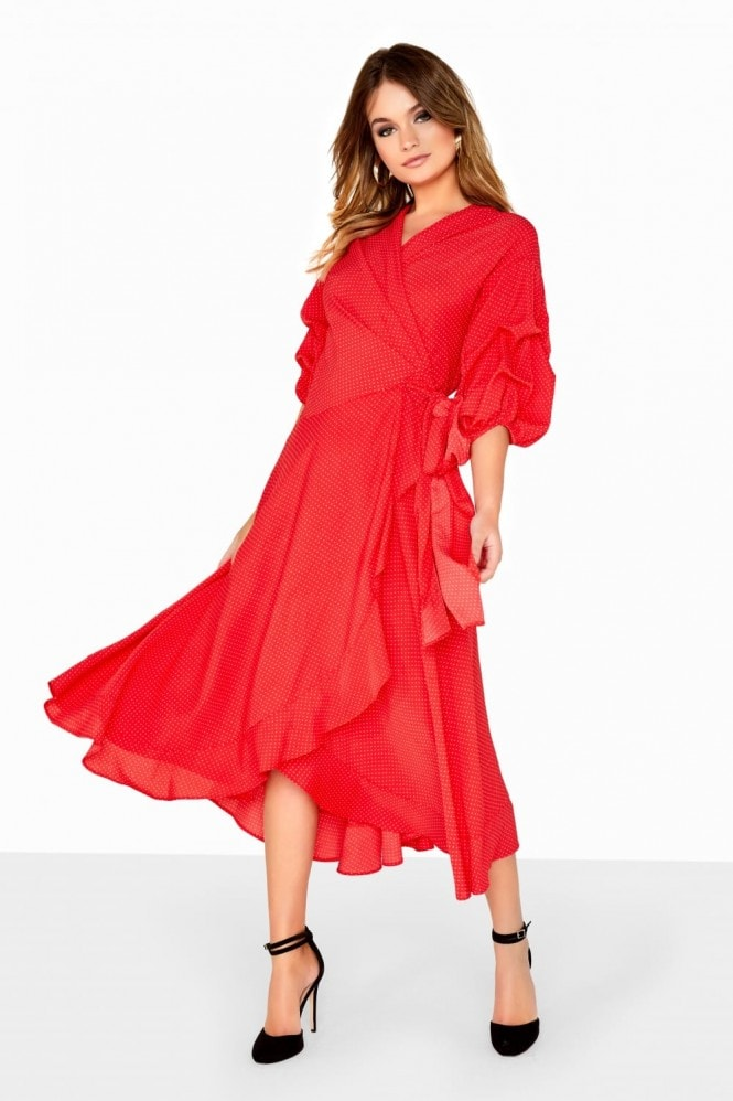 Girls on Film Polka Dot Red Wrap Dress