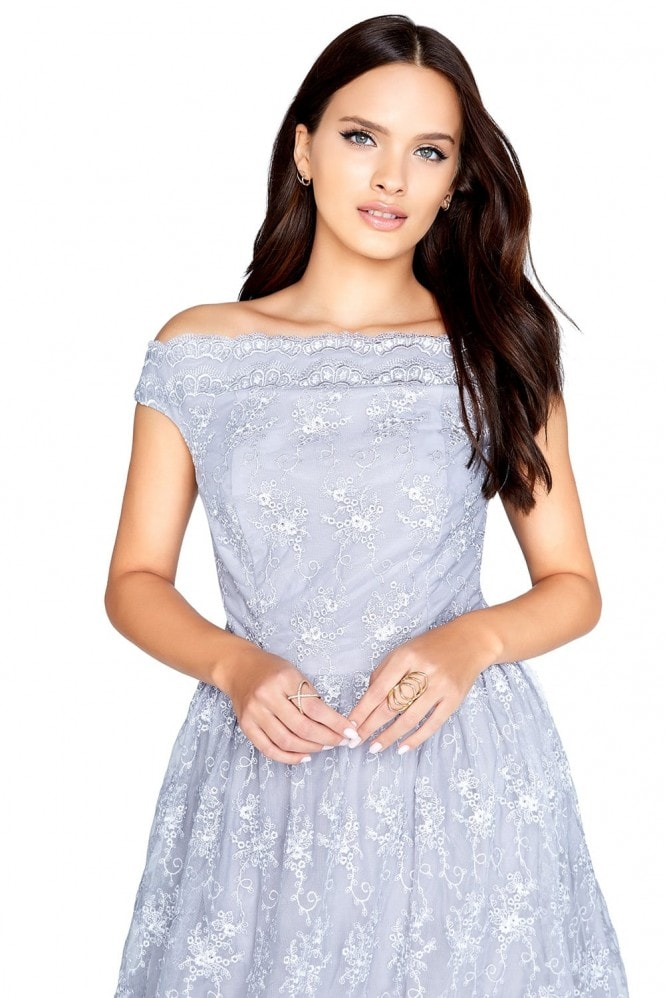 Little Mistress Grey Mesh Prom Dress