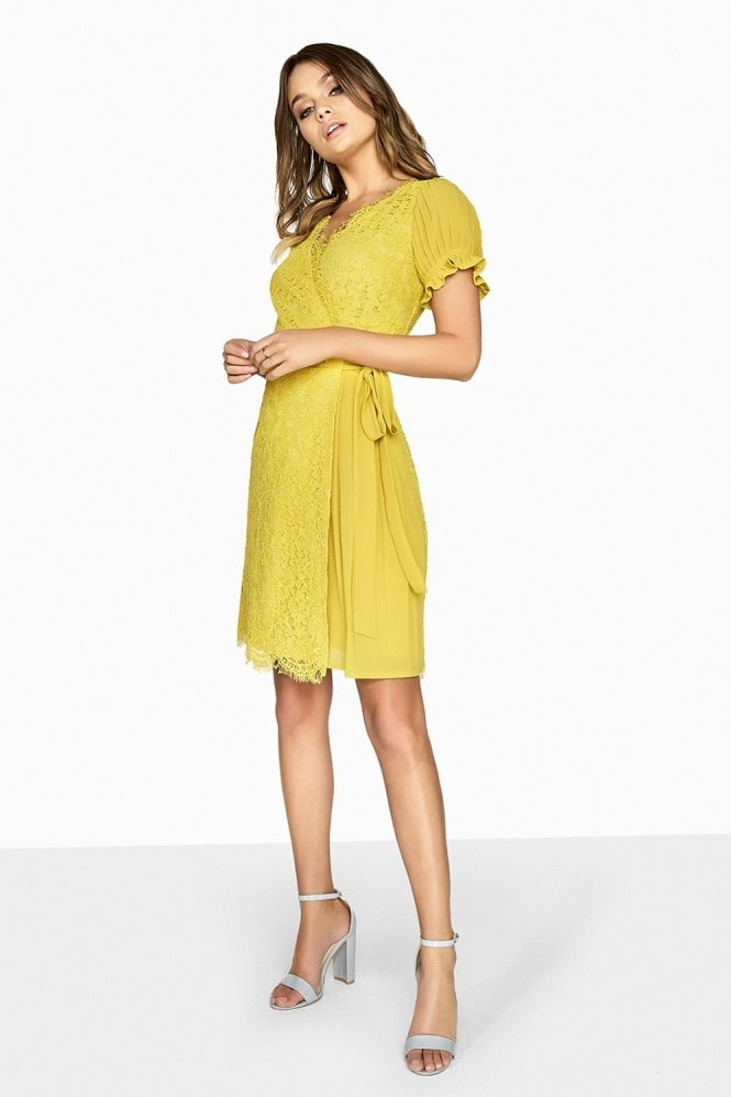 Little Mistress Mustard Wrap Dress