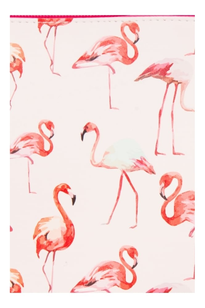 White and Pink Flamingo Clutch