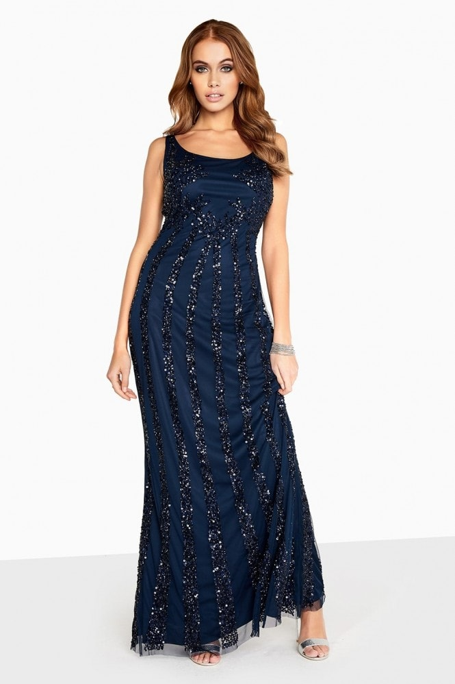 Little Mistress Navy Sequin Maxi Dress