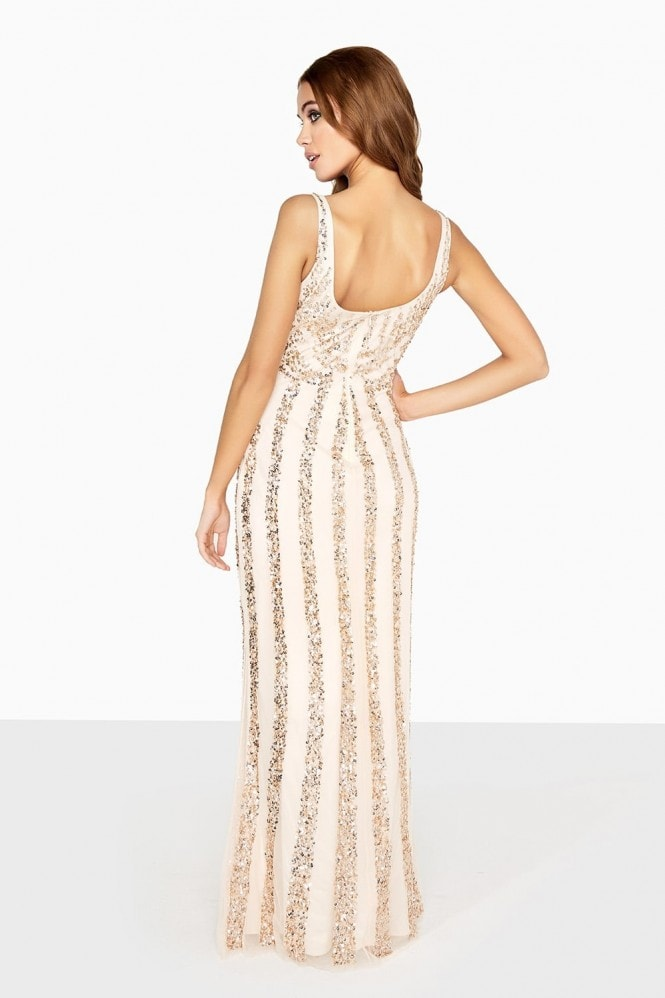 Little Mistress Nude Sequin Maxi Dress