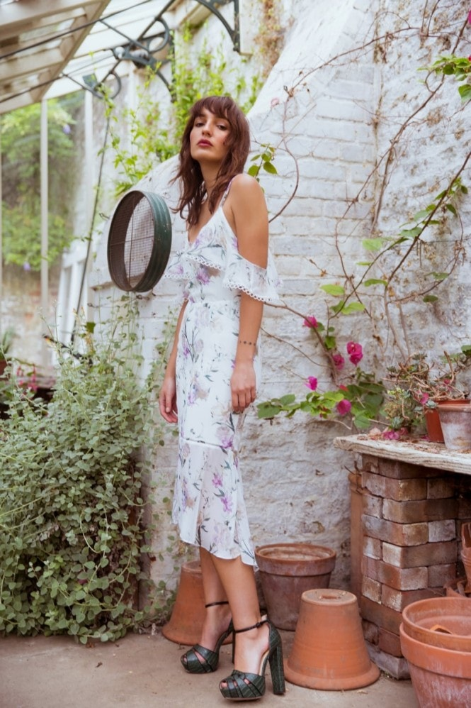 Hope and Ivy Floral Strappy Midi Dress