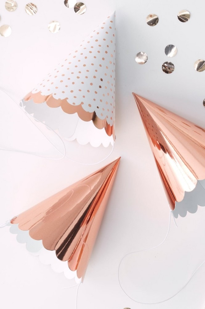 Ginger Ray Rose Gold Party Hats