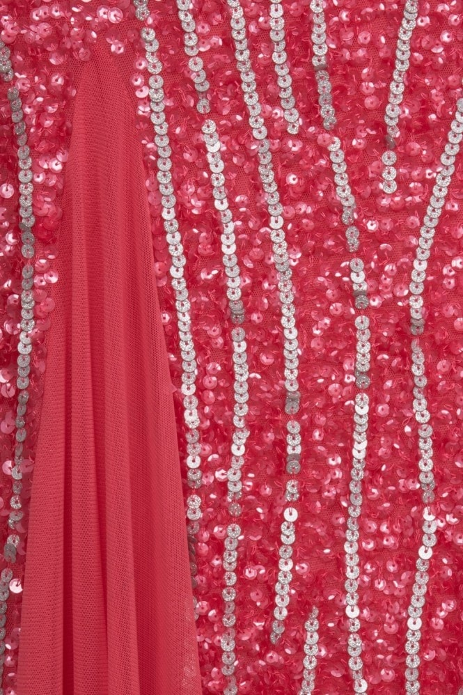 Little Mistress Coral Sequin Maxi