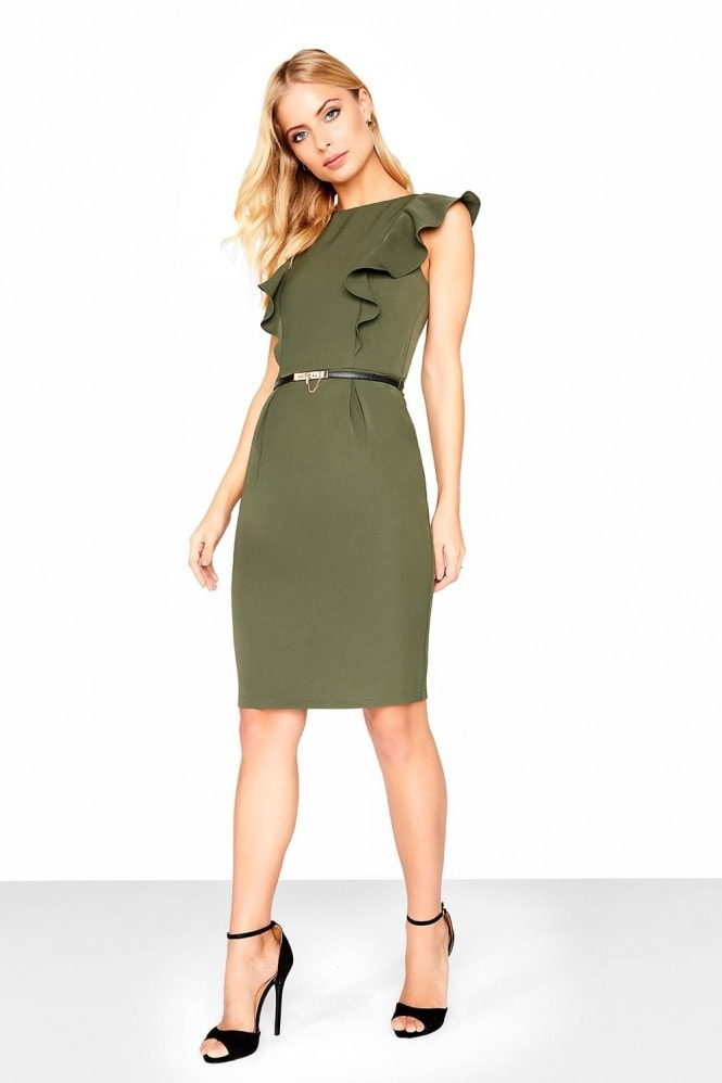 Paper Dolls Khaki Frill Dress