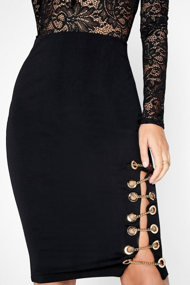 Girls on Film Black Pencil Skirt