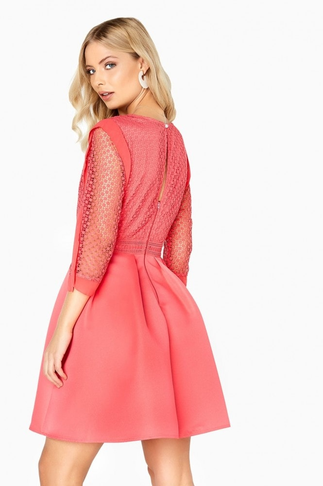 Little Mistress Coral Skater Dress
