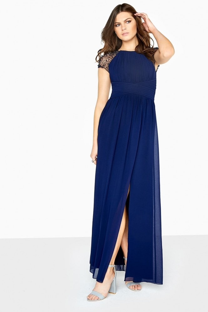 Little Mistress Navy Chiffon Maxi Dress