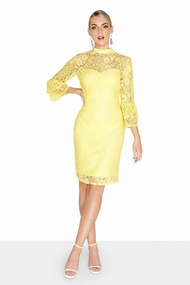 Paper Dolls Havre Lemon Fluted Dress